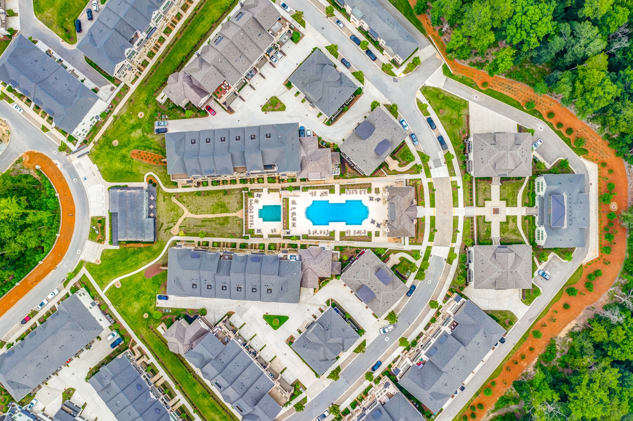 Drone real estate photo of an Atlanta condo community. Photographed by Cherokee Drone Services
