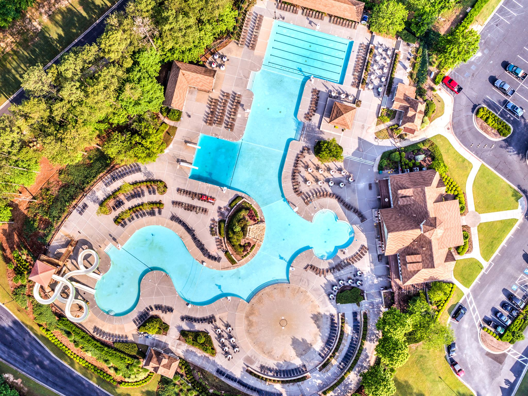 Aerial photograph of amenities in Canton, Georgia taken by Cherokee Drone Services of